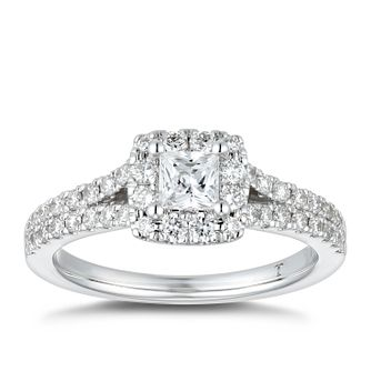 Tolkoswky 18ct White Gold 0.85ct Diamond Princess Halo Ring - Product number 4182766
