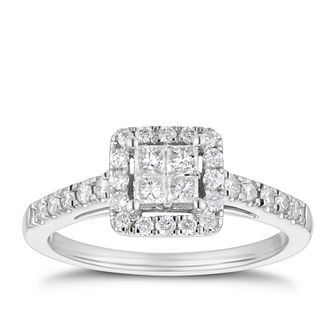 18ct White Gold 1/2ct Diamond Square Halo Ring - Product number 4200292