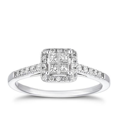 18ct White Gold 1/3ct Diamond Square Halo Ring - Product number 4200802
