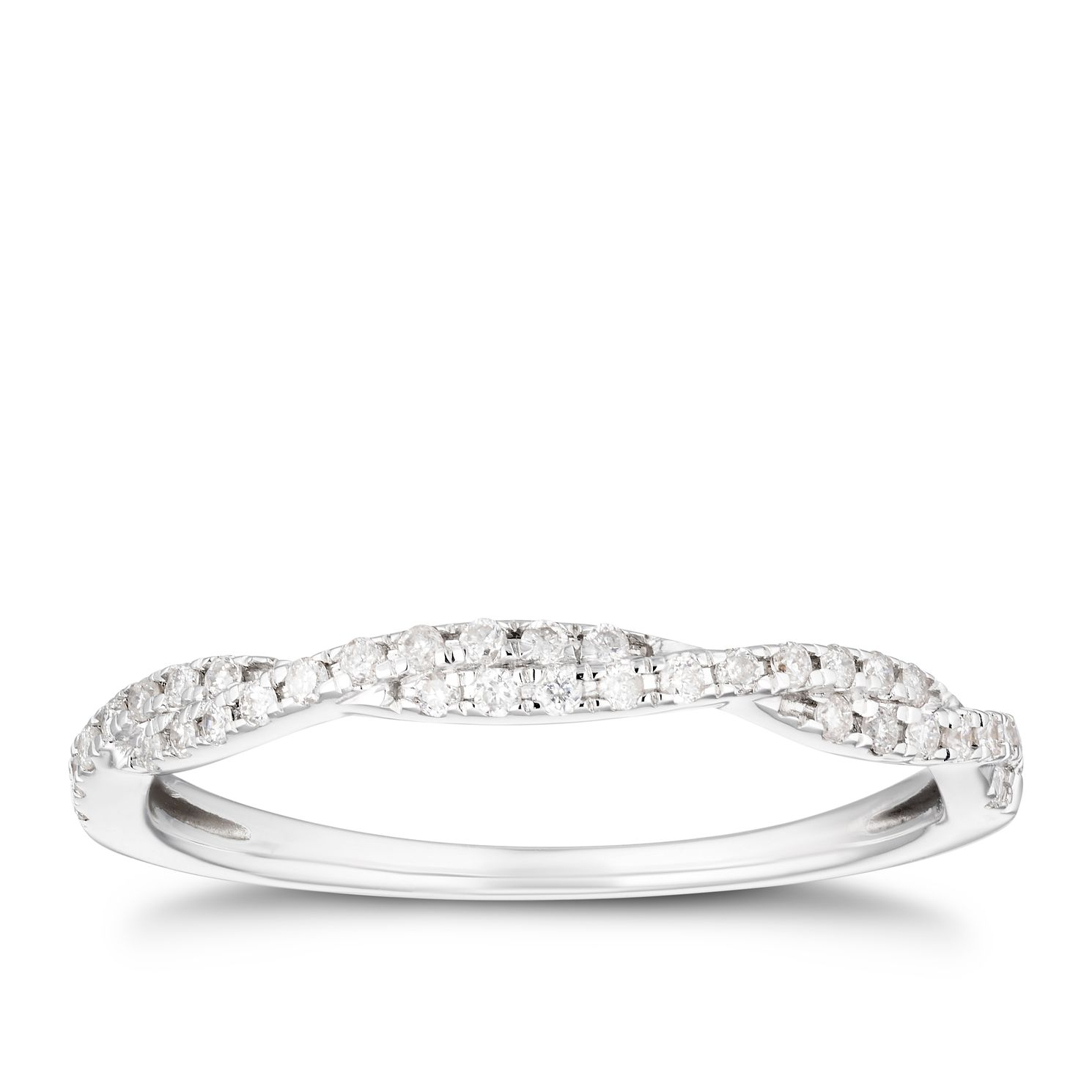 18ct White Gold 0.15ct Diamond Twisted Eterniry Ring - Product number 4201078