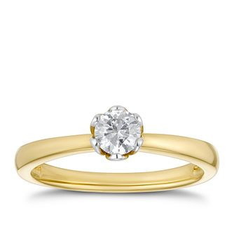 9ct Yellow Gold 0.30ct Diamond Solitaire Ring - Product number 4201507