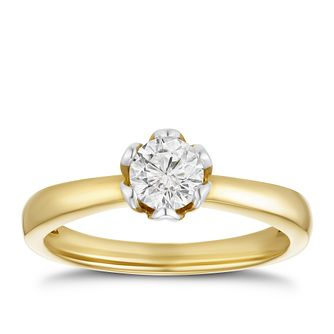 9ct Yellow Gold 1/2ct Diamond Solitaire Ring - Product number 4201639