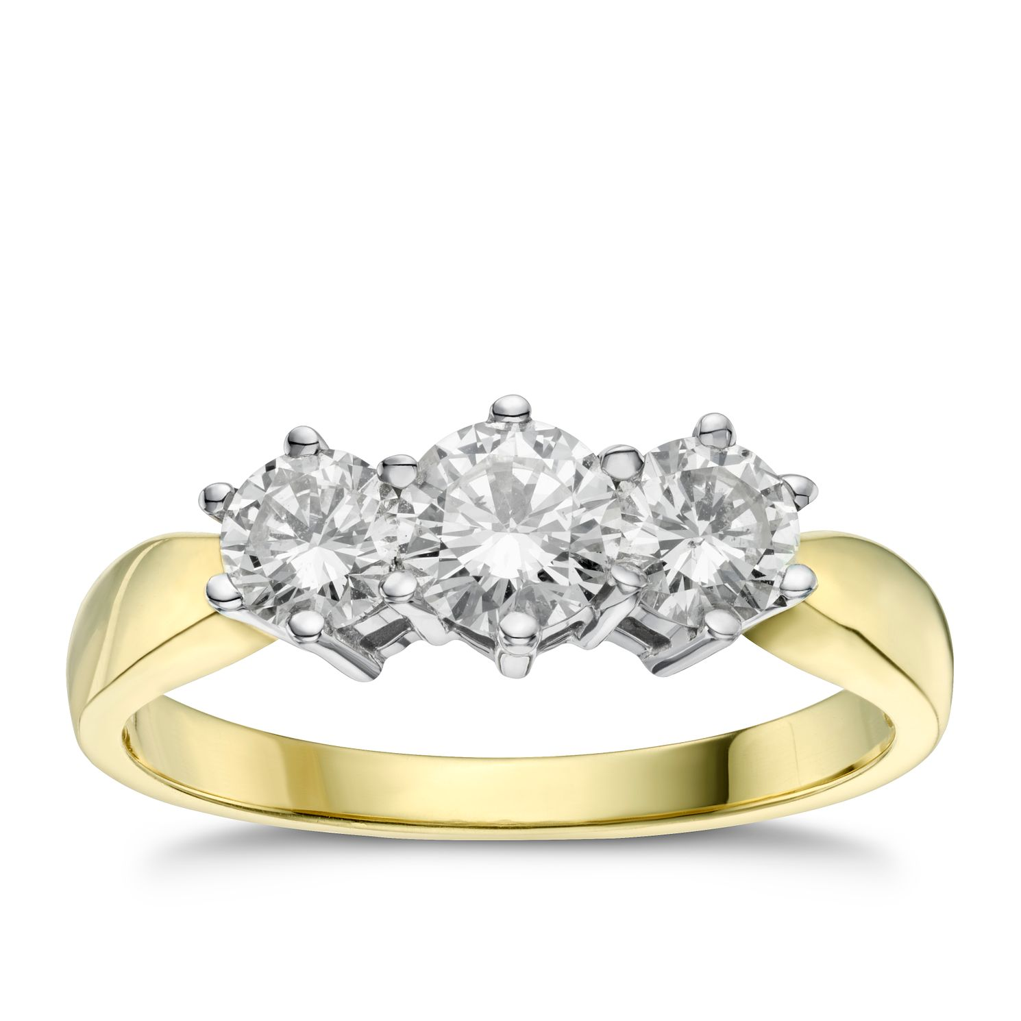 18ct Gold 1ct Total Diamond Three Stone Ring - Product number 4213408
