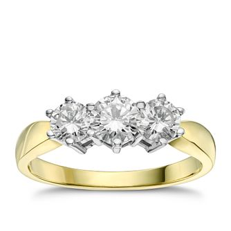 18ct gold 1ct diamond three stone ring - Product number 4213408