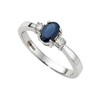 9ct White Gold Sapphire & 0.10ct Diamond Ring - Product number 4215079
