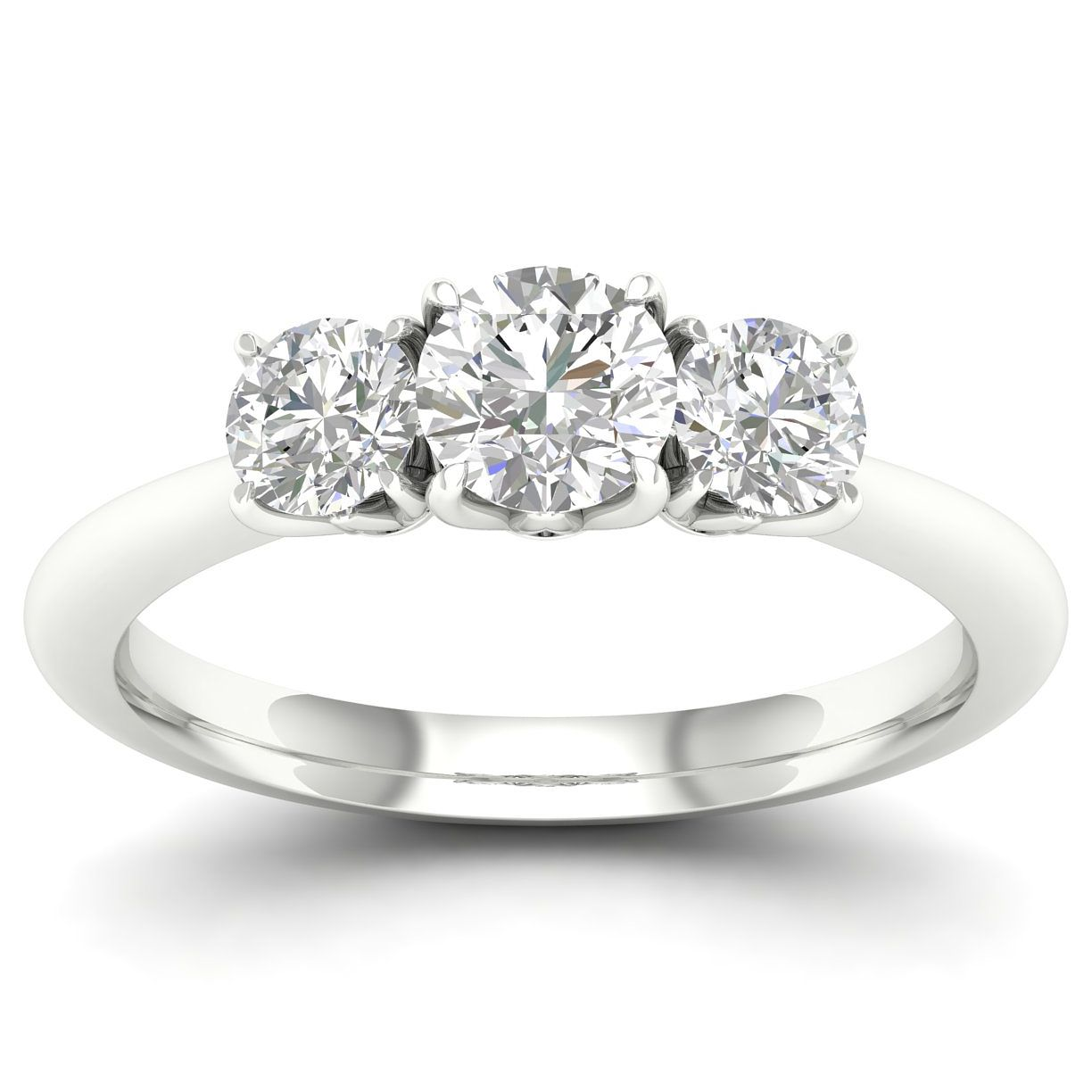 18ct White Gold & Platinum 3/4ct Diamond Three Stone Ring - Product number 4215621