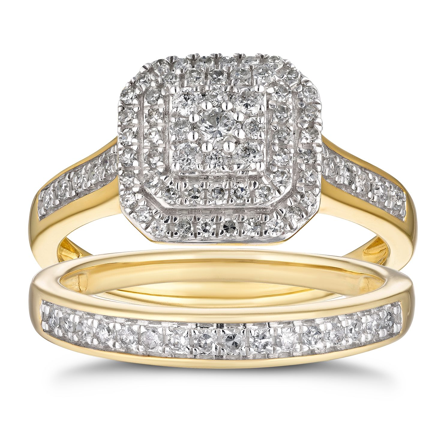 9ct Yellow Gold 1/2ct Diamond Cushion Double Halo Bridal Set - Product number 4216431