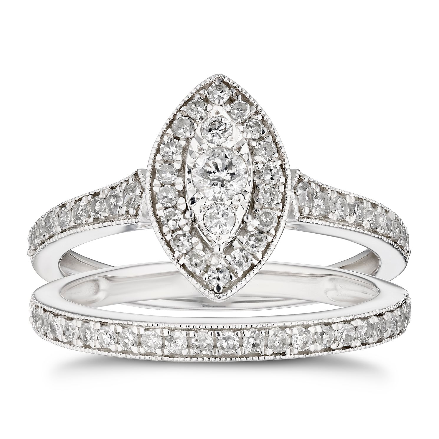 9ct White Gold 1/2ct Diamond Marquise Bridal Set - Product number 4216601