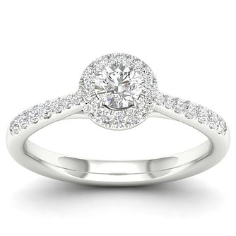 18ct White Gold & Platinum 1/2ct Diamond Halo Ring - Product number 4216687