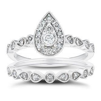 9ct White Gold 1/3ct Diamond Pear Halo Bridal Set - Product number 4217004