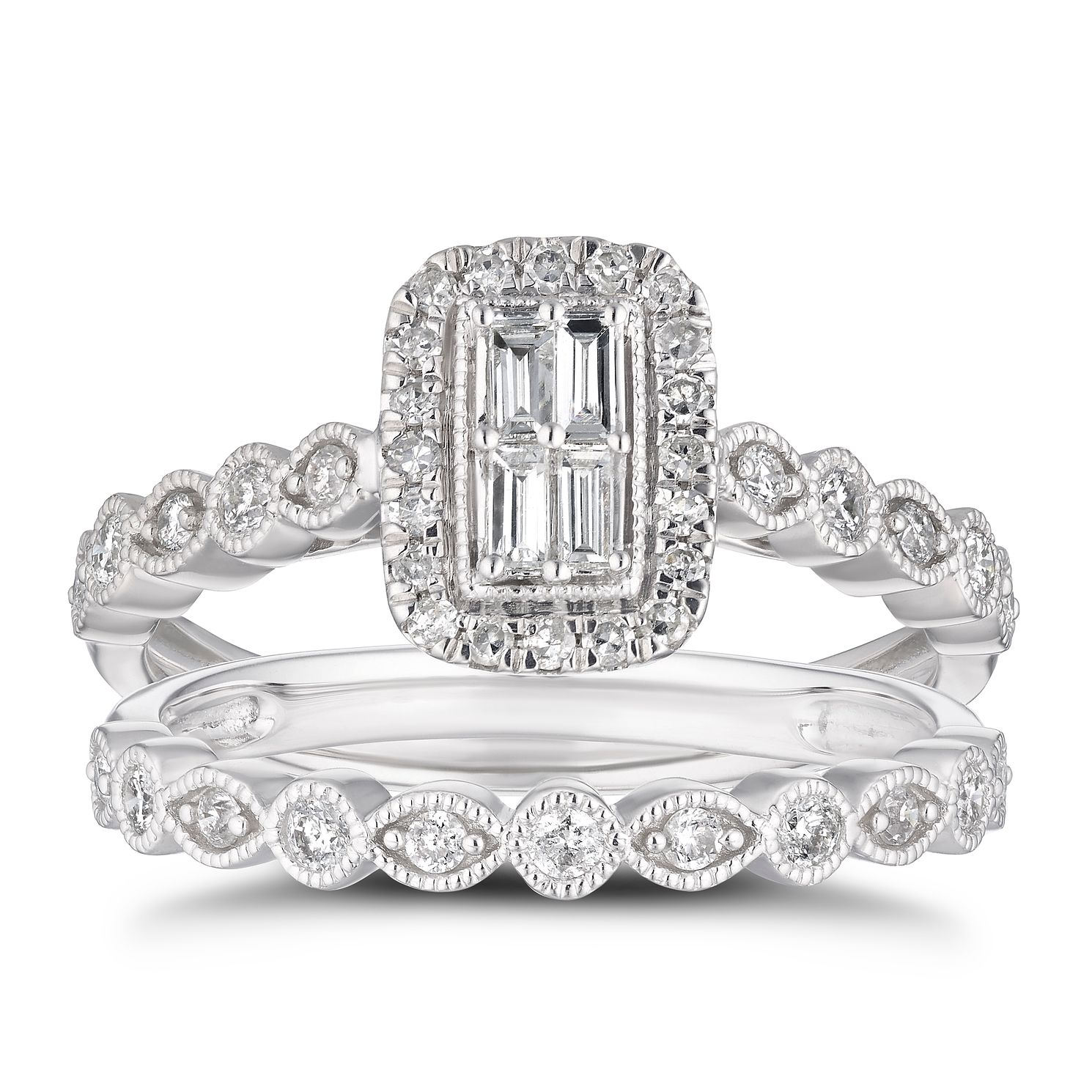 9ct White Gold 1/2ct Diamond Rectangle Halo Bridal Set - Product number 4217233