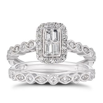 9ct White Gold 0.50ct Total Diamond Halo Bridal Set - Product number 4217233