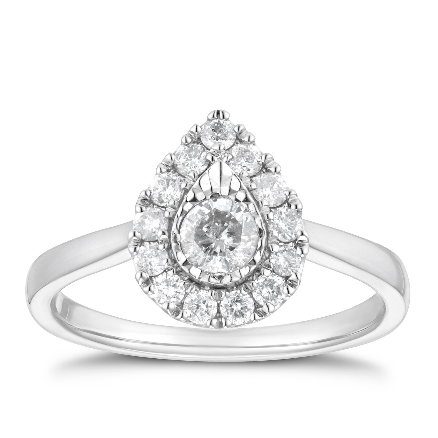 9ct White Gold 1/2ct Diamond Pear Halo Ring - Product number 4218191