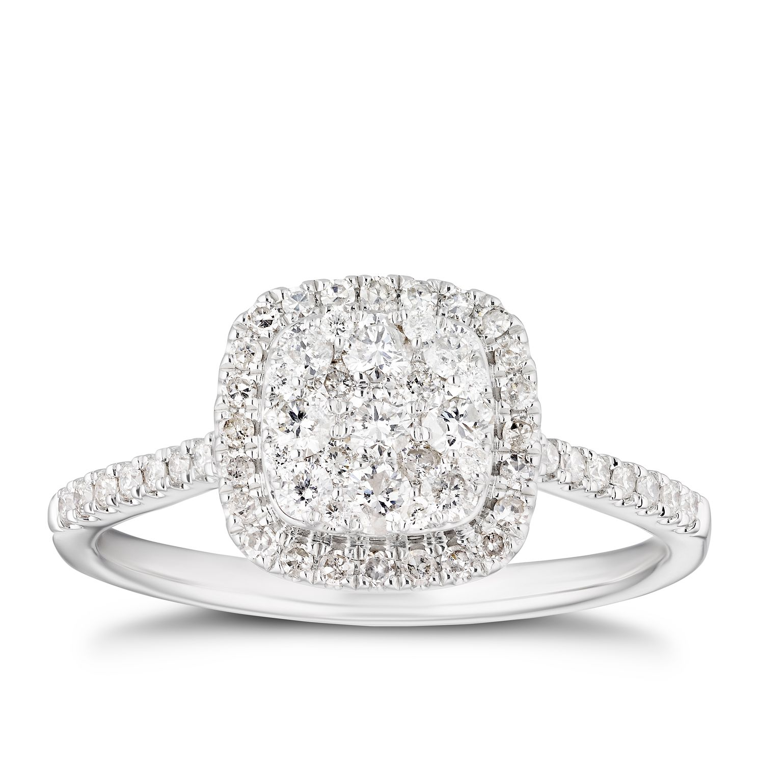 18ct White Gold 1/2ct Diamond Cushion Halo Ring - Product number 4218337
