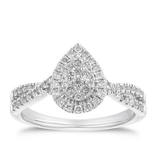 18ct White Gold 1/2ct Diamond Pear Halo - Product number 4218639