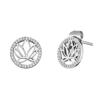 Angel Whisperer Sterling Silver Lotus Blossom Stud Earrings - Product number 4219791