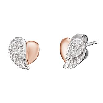Angel Whisperer Silver & Rose Gold Heart Wing Stud Earrings - Product number 4219880
