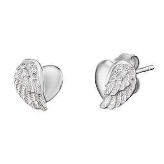 Angel Whisperer Sterling Silver Heart Wing Stud Earrings - Product number 4219902