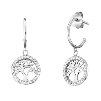 Angel Whisperer Tree of Life Cubic Zirconia Hoop Earrings - Product number 4219929