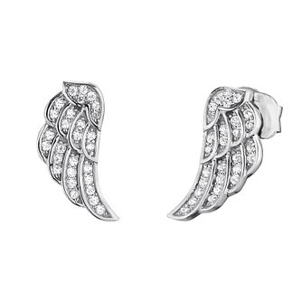 Angel Whisperer Cubic Zirconia Angel Wing Stud Earrings - Product number 4219945