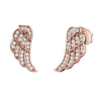 Angel Whisperer Rose Gold Angel Wing Stud Earrings - Product number 4220005
