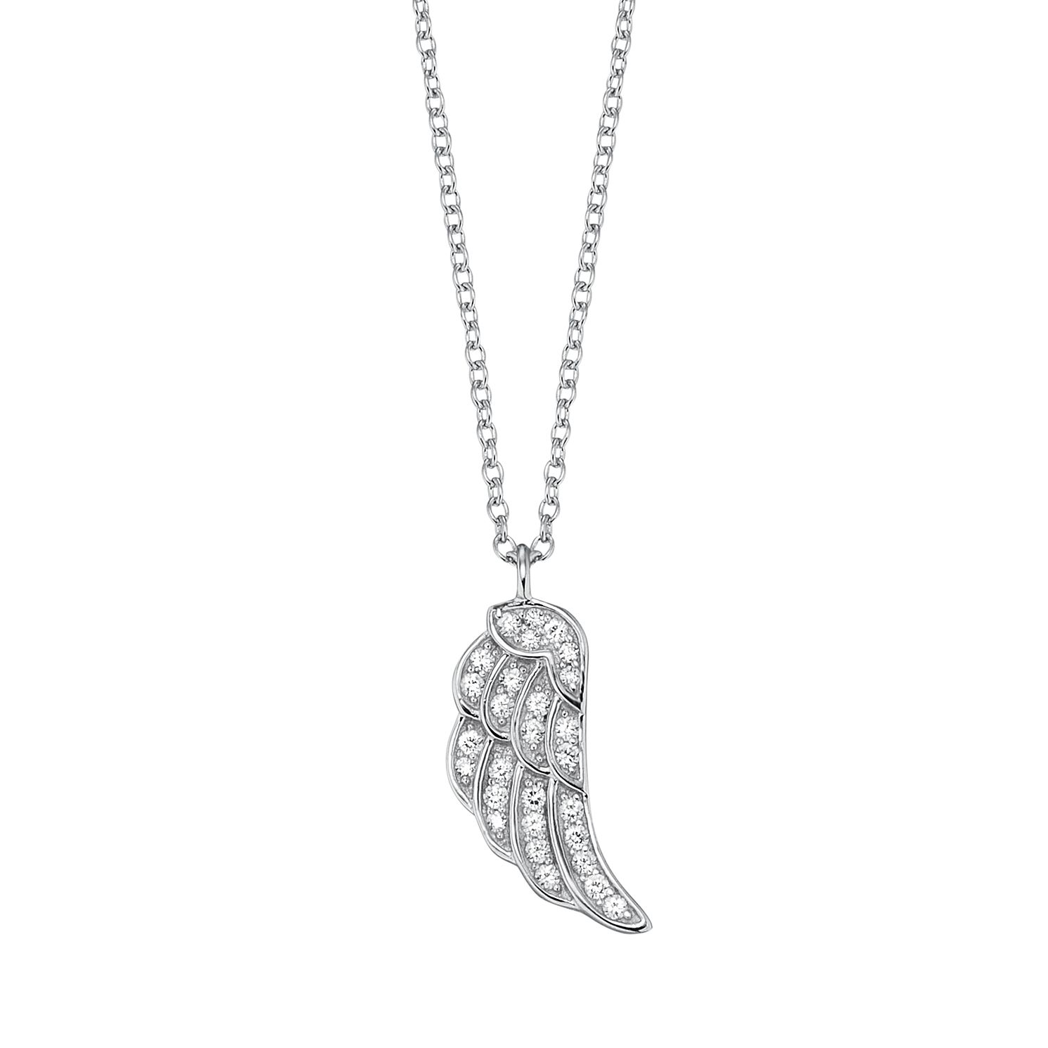 Angel Whisperer Silver Cubic Zirconia Angel Wing Necklace - Product number 4220854