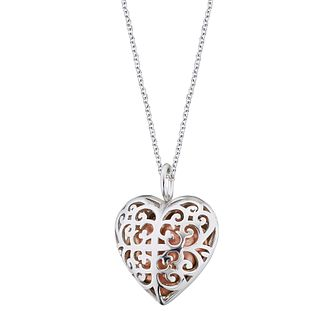 Angel Whisperer Silver Heart and Rose Gold Chime Necklace - Product number 4221141