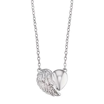 Angel Whisperer Sterling Silver Heart Wing Necklace - Product number 4221265
