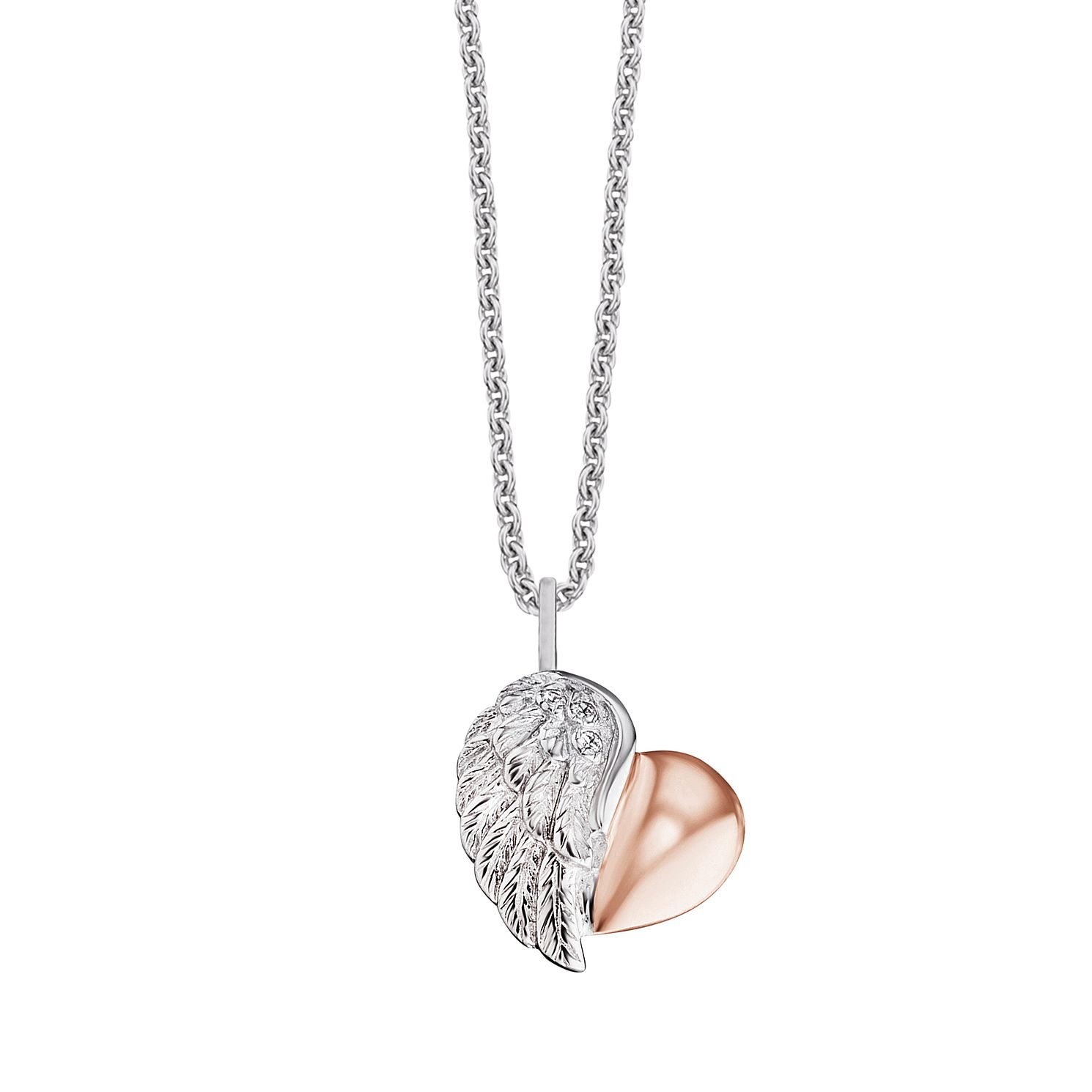 Angel Whisperer Silver & Rose Gold Heart Wing Necklace - Product number 4221303