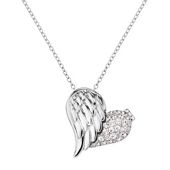 Angel Whisperer Sterling Silver Heart Wing Open Necklace - Product number 4221370