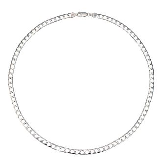 "Men's Silver 20"" Flat Square Curb Chain - Product number 4222563"