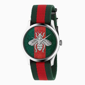 Gucci G-Timeless Bee Multi-Coloured Stripe Strap Watch - Product number 4226933