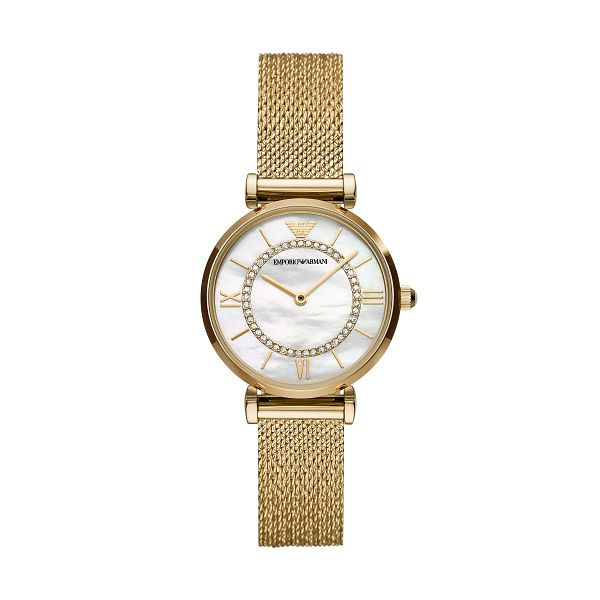 Emporio Armani Ladies' Yellow Gold Tone Mesh Bracelet Watch - Product number 4227514