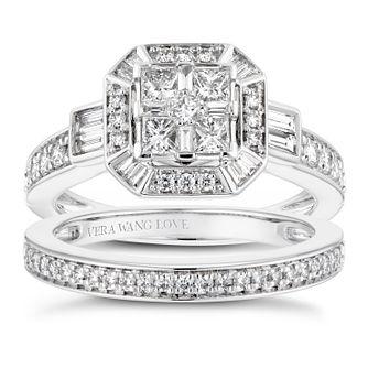 Vera Wang 18ct White Gold 0.95ct Mixed Diamond Bridal Set - Product number 4229436