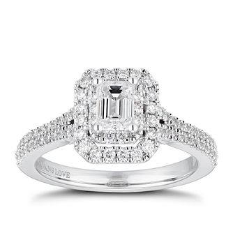 Vera Wang 18ct White Gold 0.95ct Total Diamond Halo Ring - Product number 4229614
