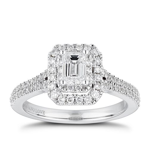 Vera Wang 18ct White Gold 0.95ct Diamond Double Halo Ring - Product number 4229614