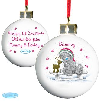 Personalised Me To You Reindeer Christmas Bauble Ornament - Product number 4229916