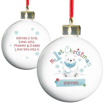 Personalised Polar Bear My 1st Christmas Bauble Ornament - Product number 4230027