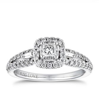 Vera Wang 18ct White Gold 0.58ct Diamond Princess Halo Ring - Product number 4230868