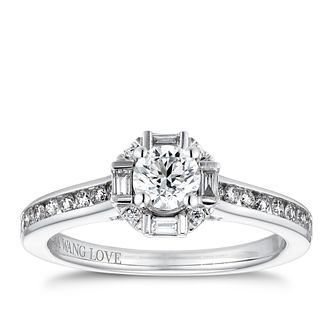 Vera Wang 18ct White Gold 0.69ct Mixed Diamond Halo Ring - Product number 4231473