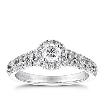 Vera Wang 18ct White Gold 0.58ct Diamond Halo Ring - Product number 4231856