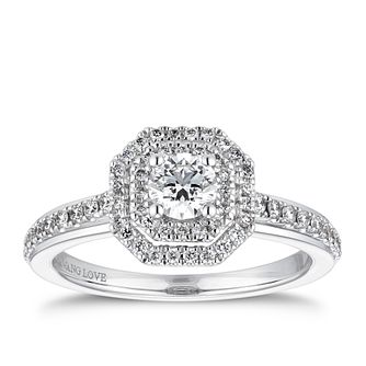 Vera Wang 18ct White Gold 0.58ct Diamond Octagon Halo Ring - Product number 4232003
