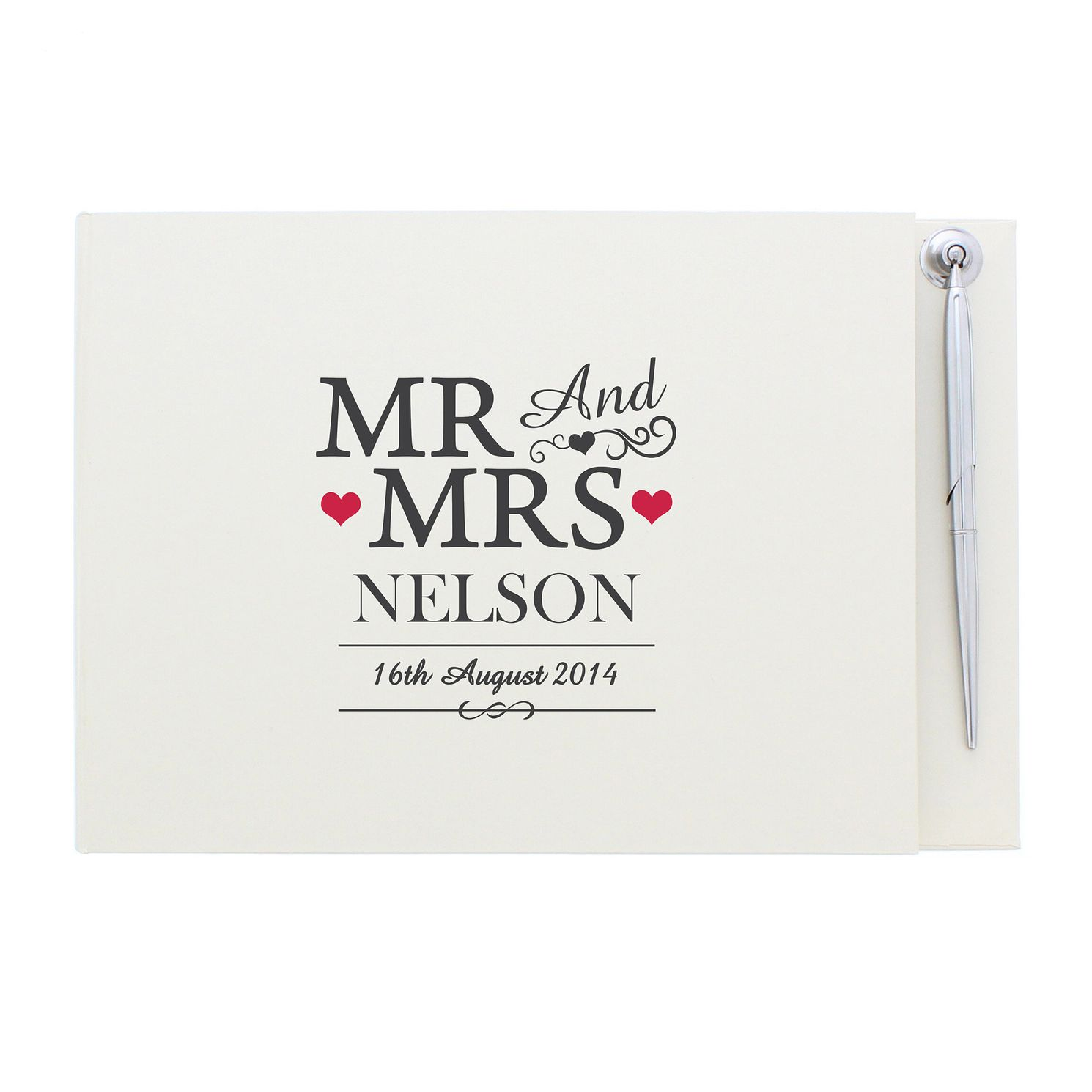 Personalised Mr & Mrs Guestbook & Pen - Product number 4232275
