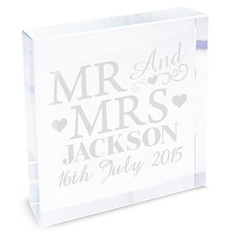 Personalised Mr & Mrs Crystal Token - Product number 4232437