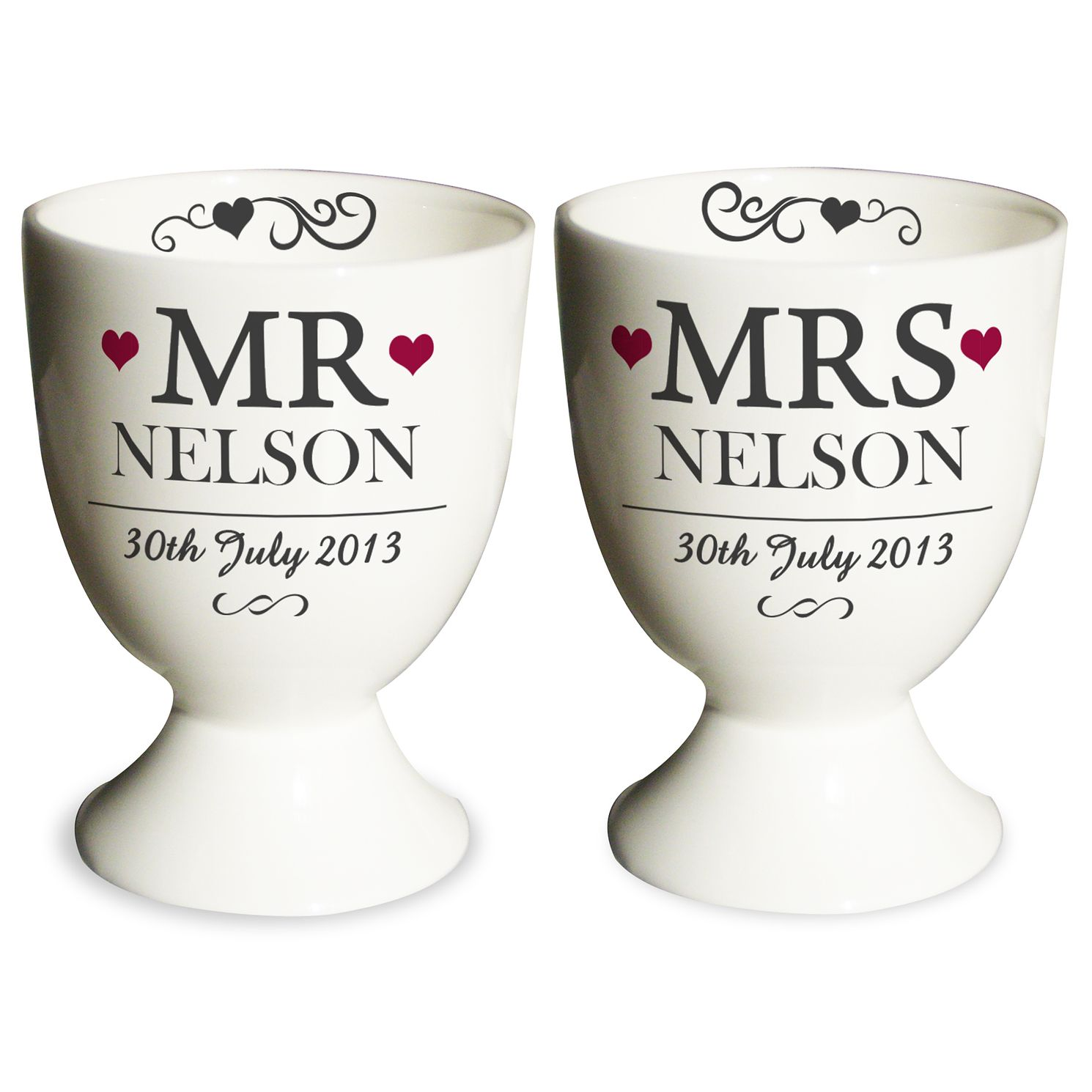 Personalised Mr & Mrs Pair of Egg Cups - Product number 4232488