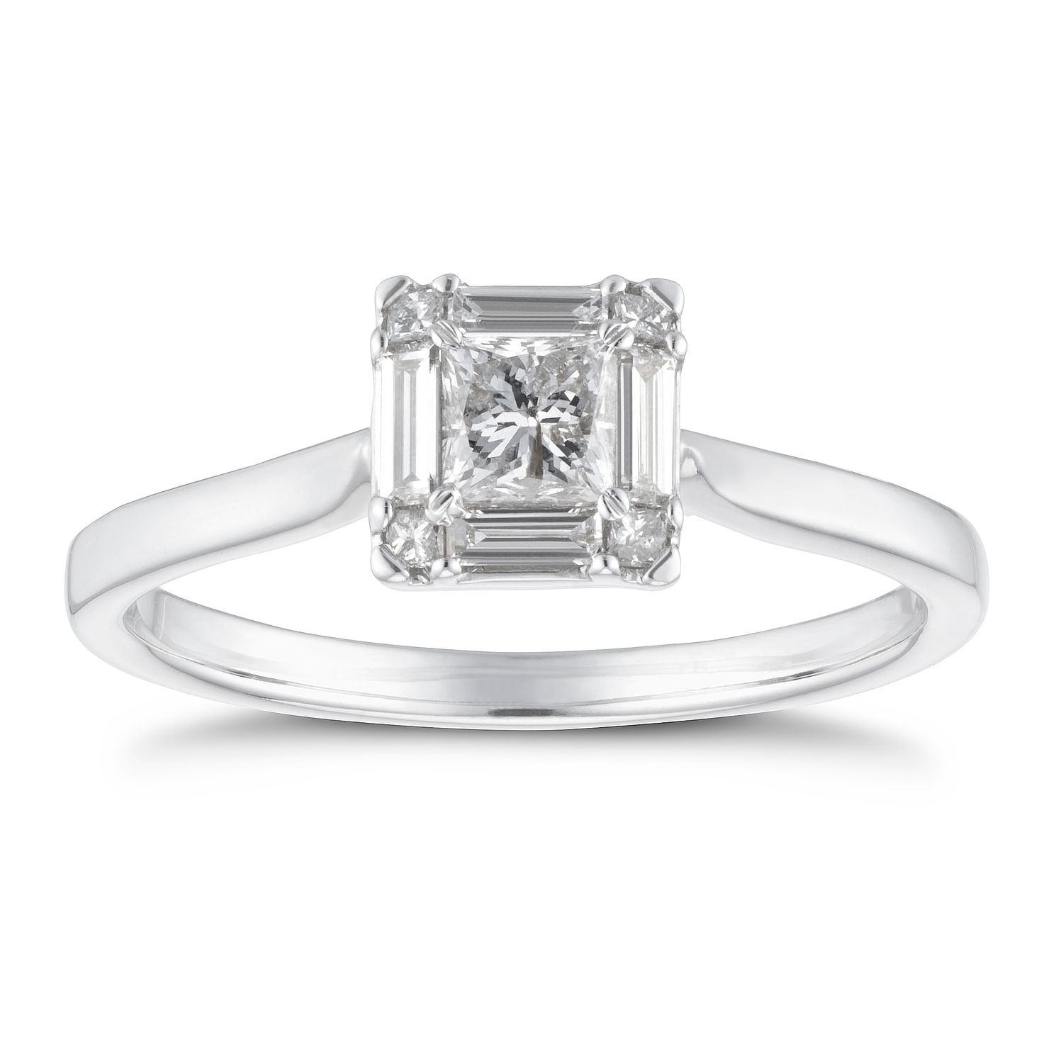 18ct White Gold 1/2ct Diamond Square Ring - Product number 4232941