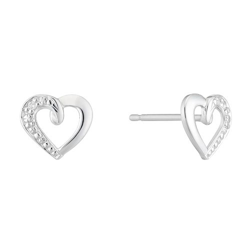 9ct White Gold Diamond Set Heart Shaped Stud Earrings - Product number 4233514