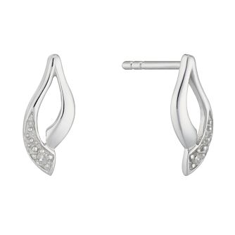 Silver Rhodium Diamond Set Leaf Shape Earrings - Product number 4233603