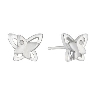 Silver Rhodium Diamond Set Double Butterfly Shape Earrings - Product number 4233646
