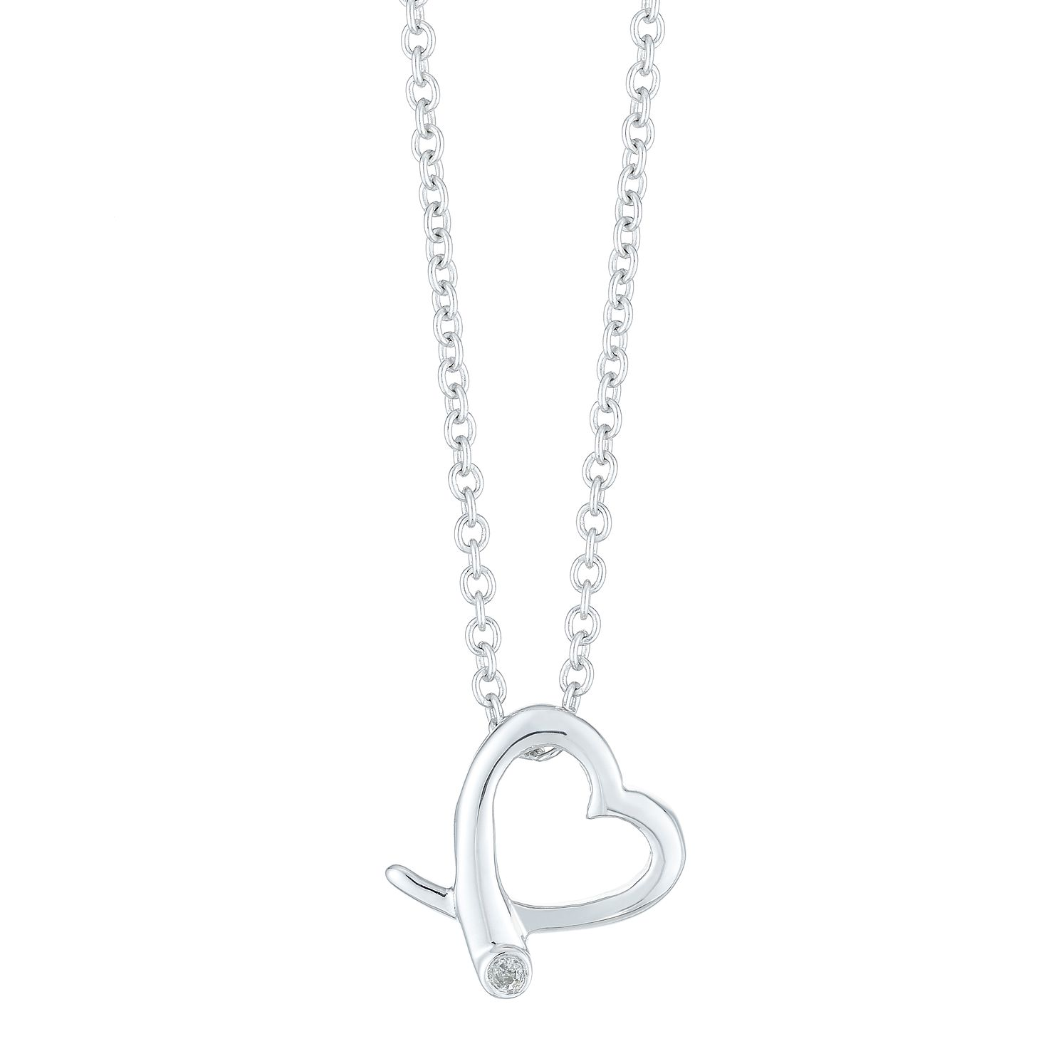 Silver Rhodium Diamond Set Heart Shaped Juliette Necklet - Product number 4233700